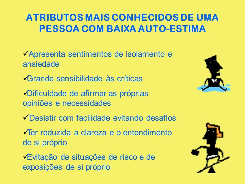 ATRIBUTOS MAIS CONHECIDOS DE UMA PESSOA COM BAIXA AUTO-ESTIMA
