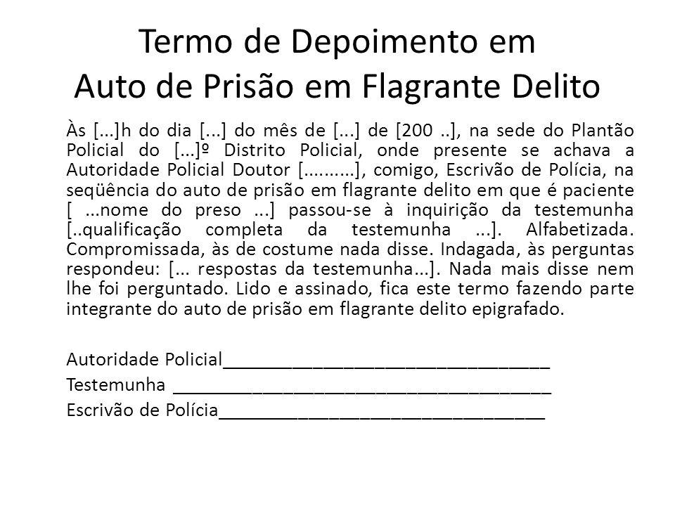 Termo de Depoimento em Auto de Prisão em Flagrante Delito