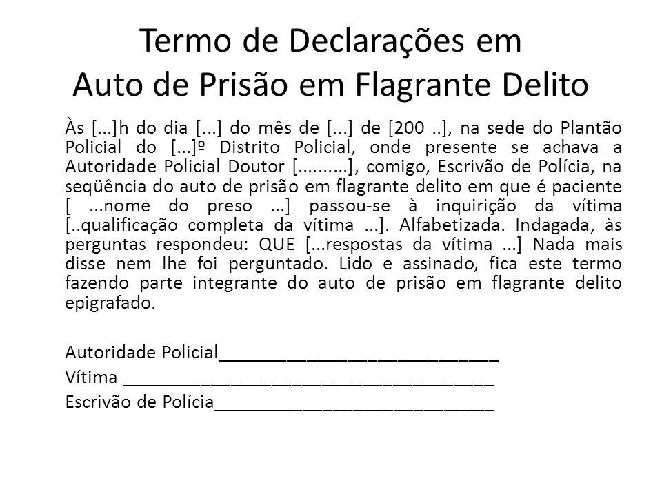 Termo de Declarações em Auto de Prisão em Flagrante Delito