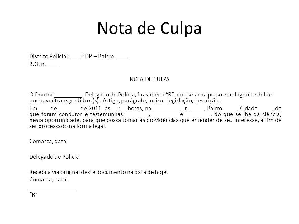Nota de Culpa B.O. n. ____ NOTA DE CULPA