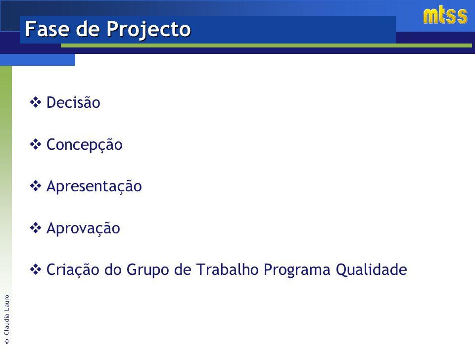 Fase de Projecto Decisão Concepção Apresentação Aprovação