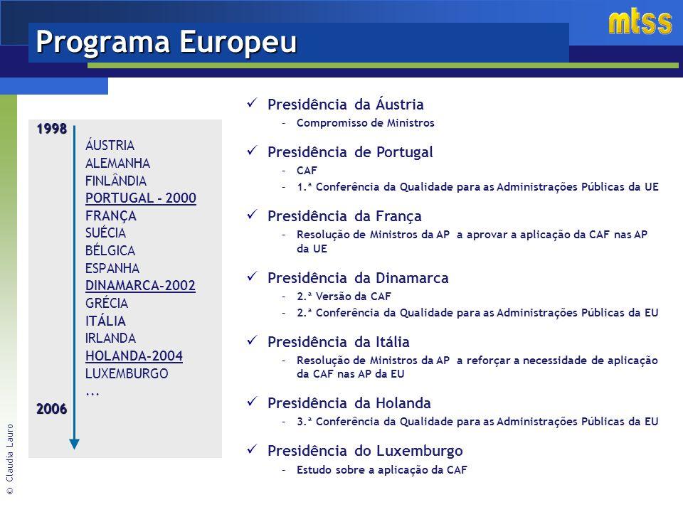 Programa Europeu Presidência da Áustria Presidência de Portugal