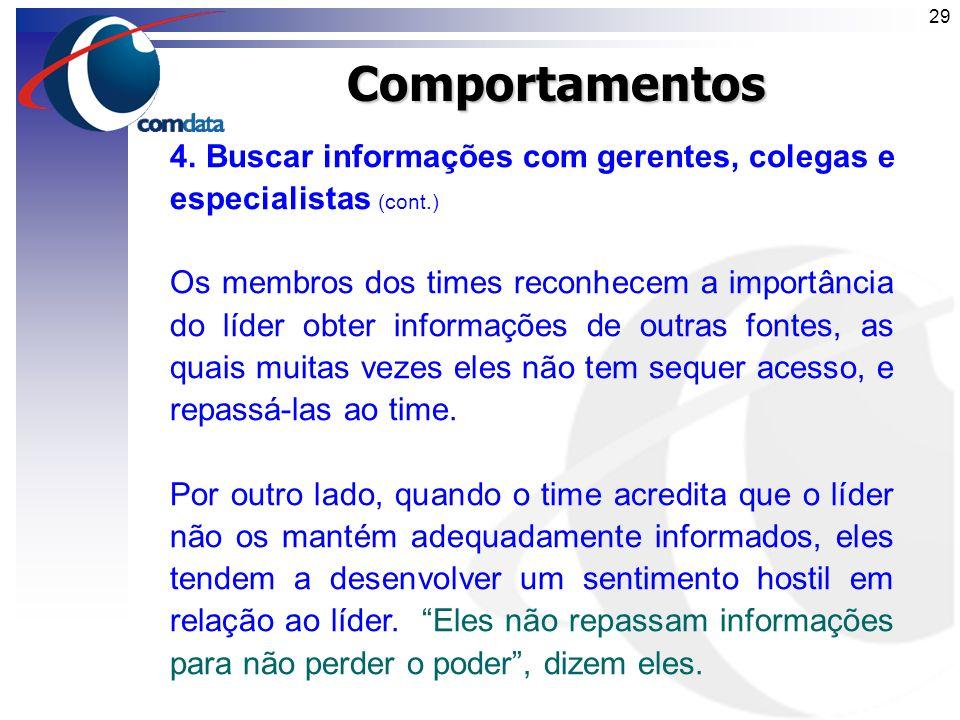 Comportamentos 4. Buscar informações com gerentes, colegas e especialistas (cont.)
