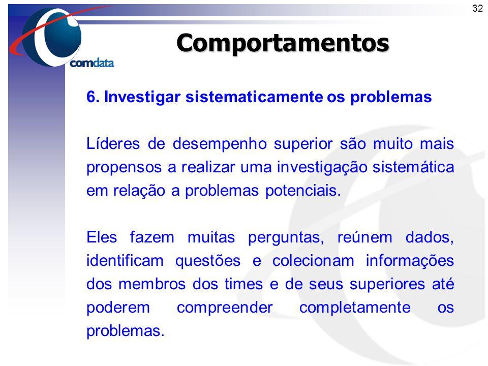 Comportamentos 6. Investigar sistematicamente os problemas