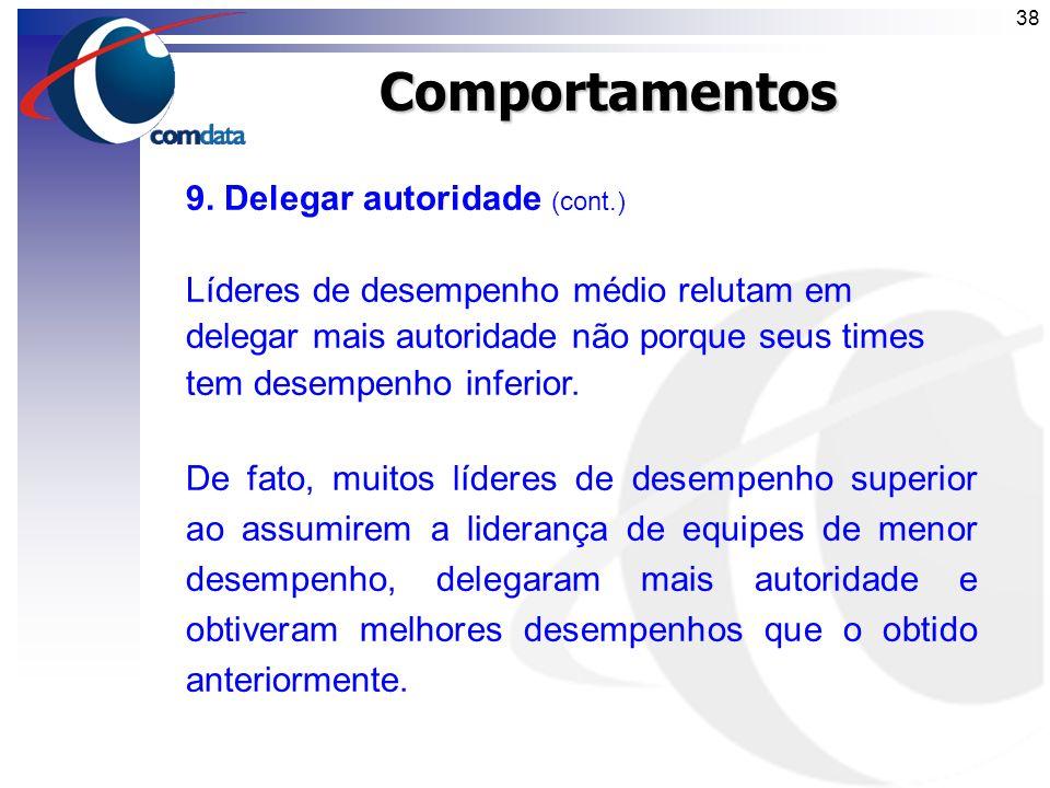 Comportamentos 9. Delegar autoridade (cont.)