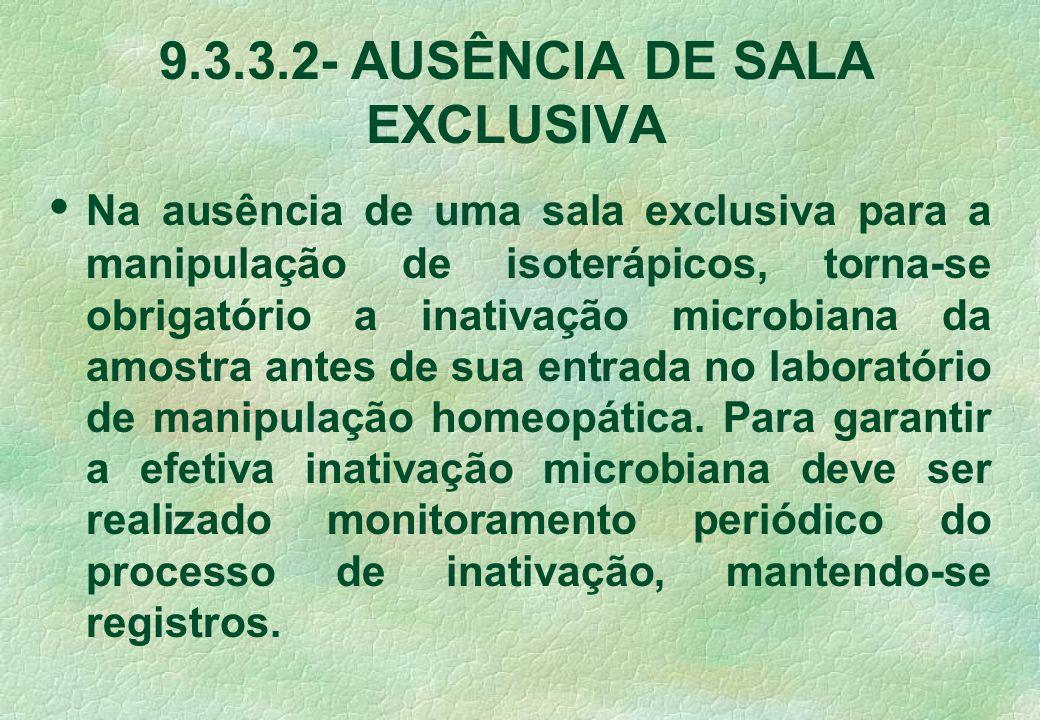 9.3.3.2- AUSÊNCIA DE SALA EXCLUSIVA