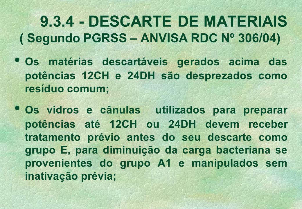 9.3.4 - DESCARTE DE MATERIAIS ( Segundo PGRSS – ANVISA RDC Nº 306/04)