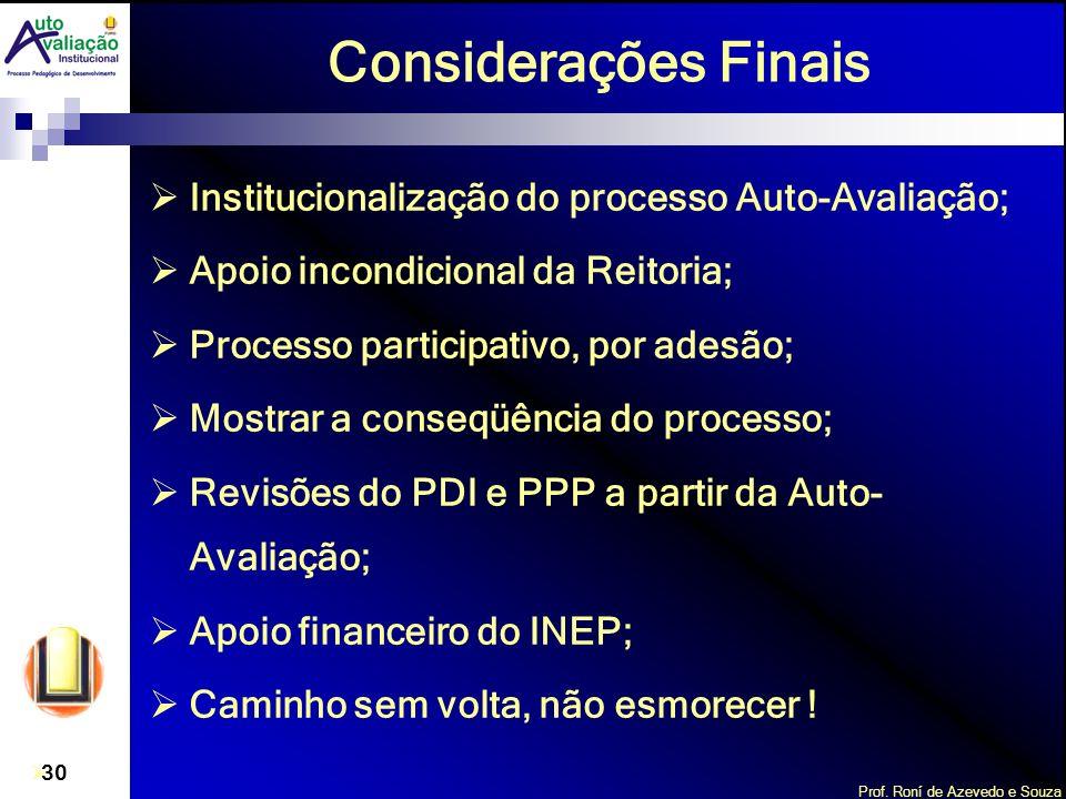 Considerações Finais Institucionalização do processo Auto-Avaliação;