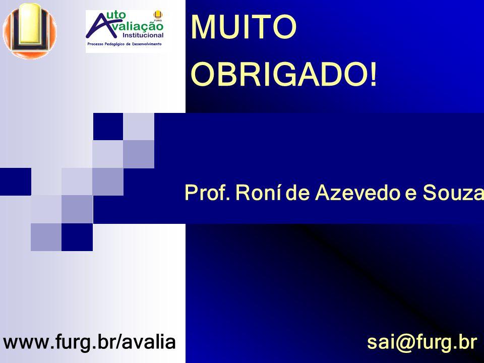 MUITO OBRIGADO! Prof. Roní de Azevedo e Souza www.furg.br/avalia