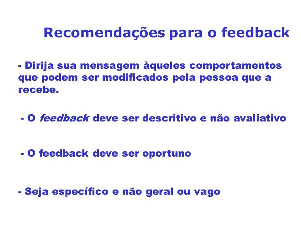 Recomendações para o feedback