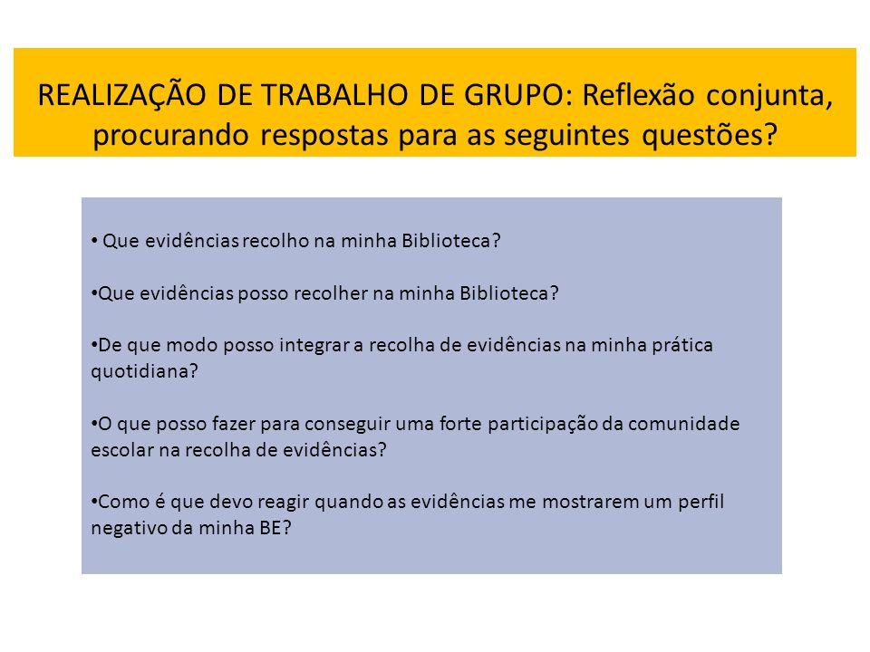 REALIZAÇÃO DE TRABALHO DE GRUPO: Reflexão conjunta, procurando respostas para as seguintes questões
