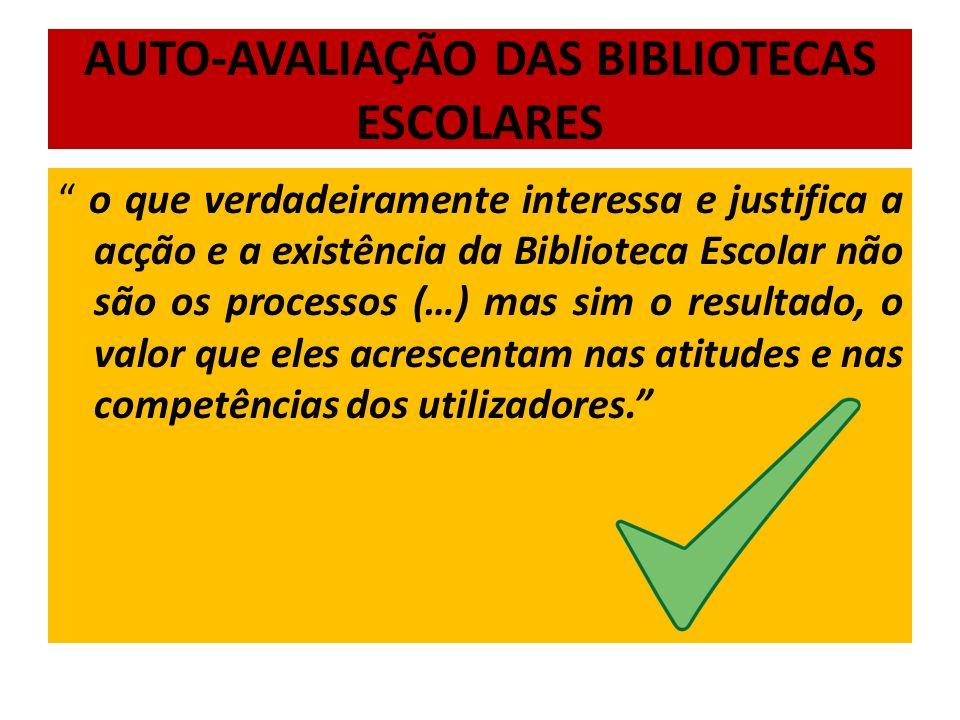 AUTO-AVALIAÇÃO DAS BIBLIOTECAS ESCOLARES
