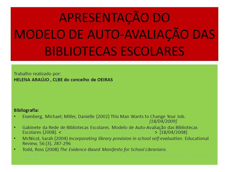 APRESENTAÇÃO DO MODELO DE AUTO-AVALIAÇÃO DAS BIBLIOTECAS ESCOLARES