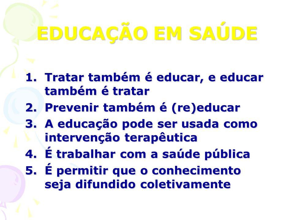 EDUCAÇÃO EM SAÚDE Tratar também é educar, e educar também é tratar