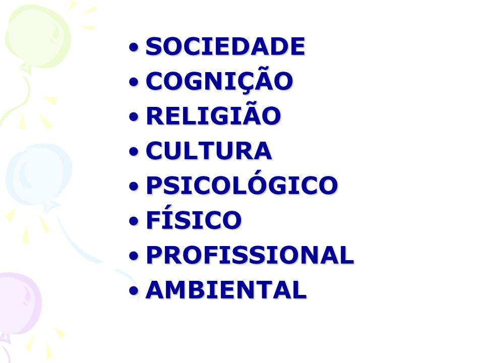 SOCIEDADE COGNIÇÃO RELIGIÃO CULTURA PSICOLÓGICO FÍSICO PROFISSIONAL