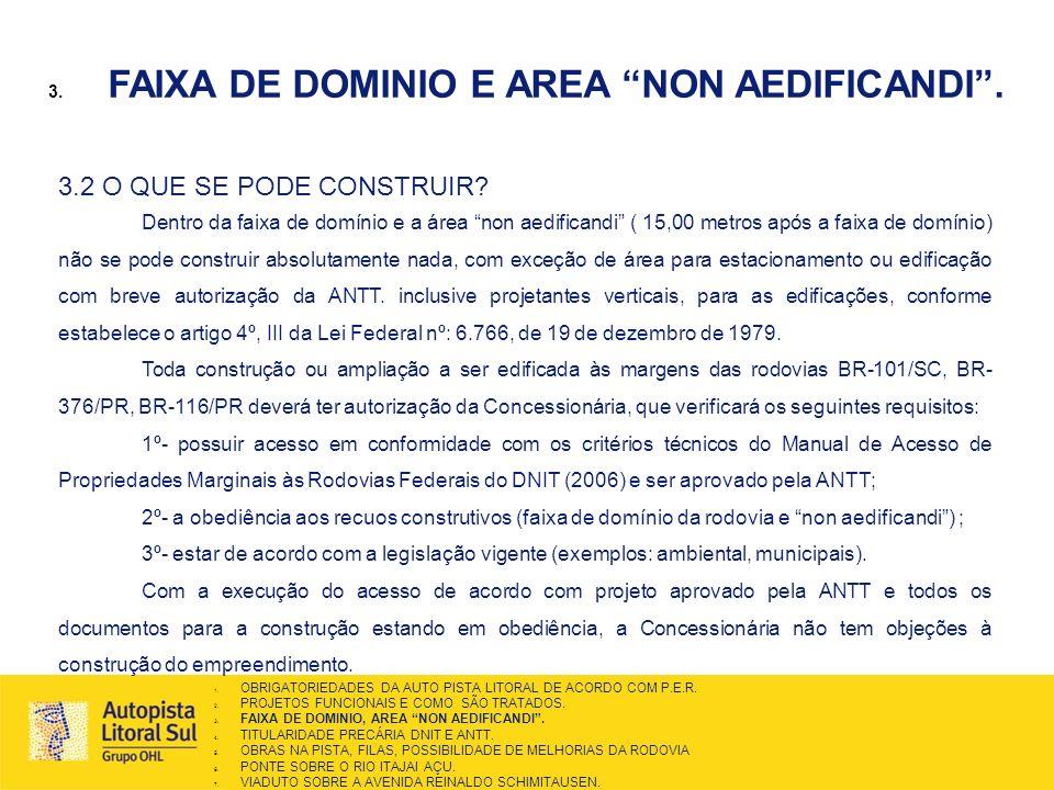 FAIXA DE DOMINIO E AREA NON AEDIFICANDI .