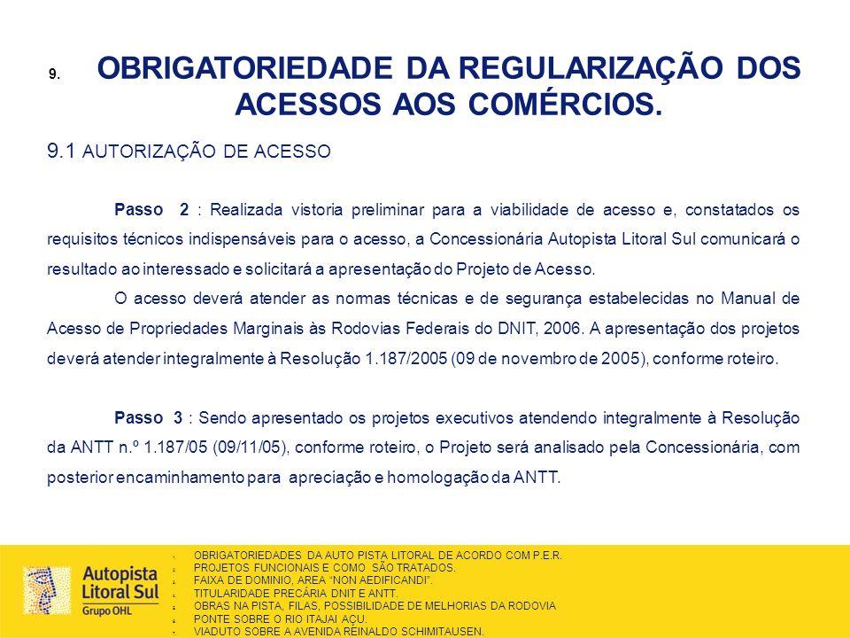 OBRIGATORIEDADE DA REGULARIZAÇÃO DOS ACESSOS AOS COMÉRCIOS.