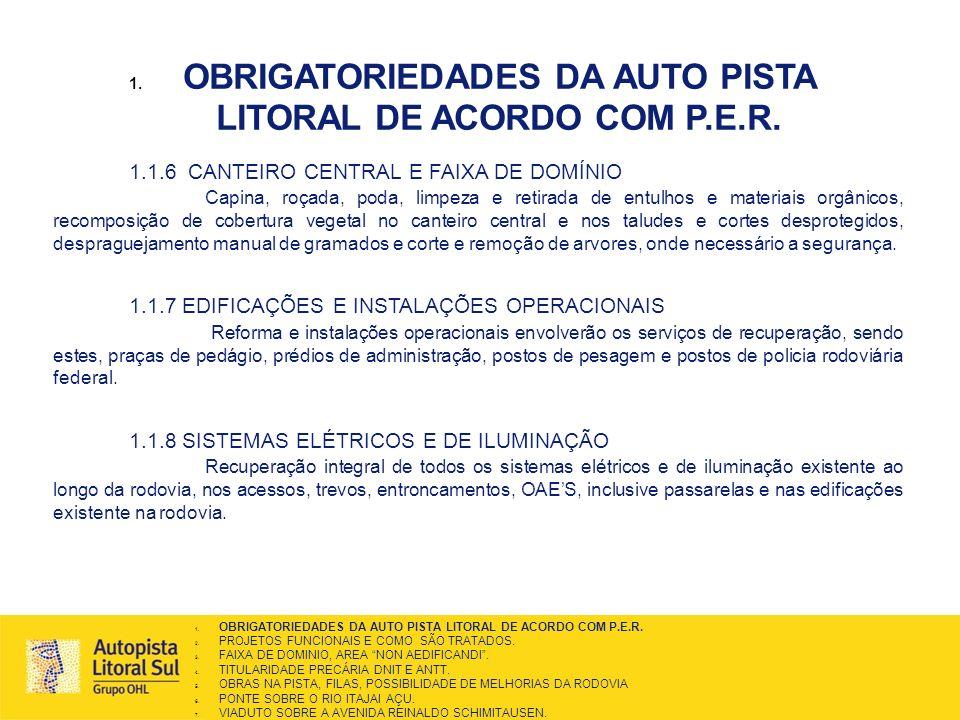 OBRIGATORIEDADES DA AUTO PISTA LITORAL DE ACORDO COM P.E.R.