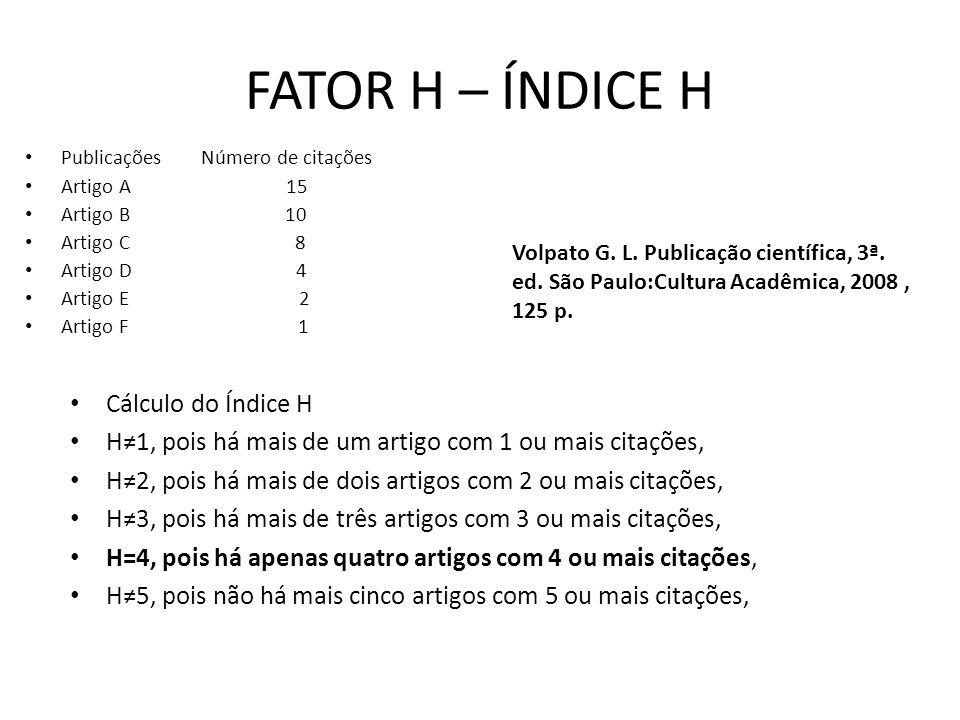 FATOR H – ÍNDICE H Cálculo do Índice H