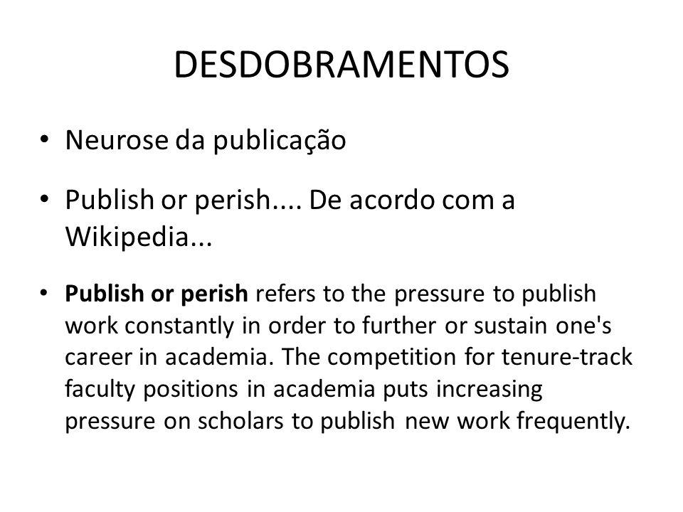 DESDOBRAMENTOS Neurose da publicação