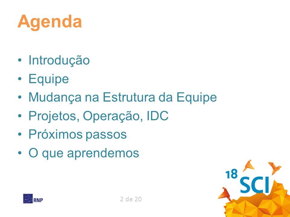 Agenda Introdução Equipe Mudança na Estrutura da Equipe