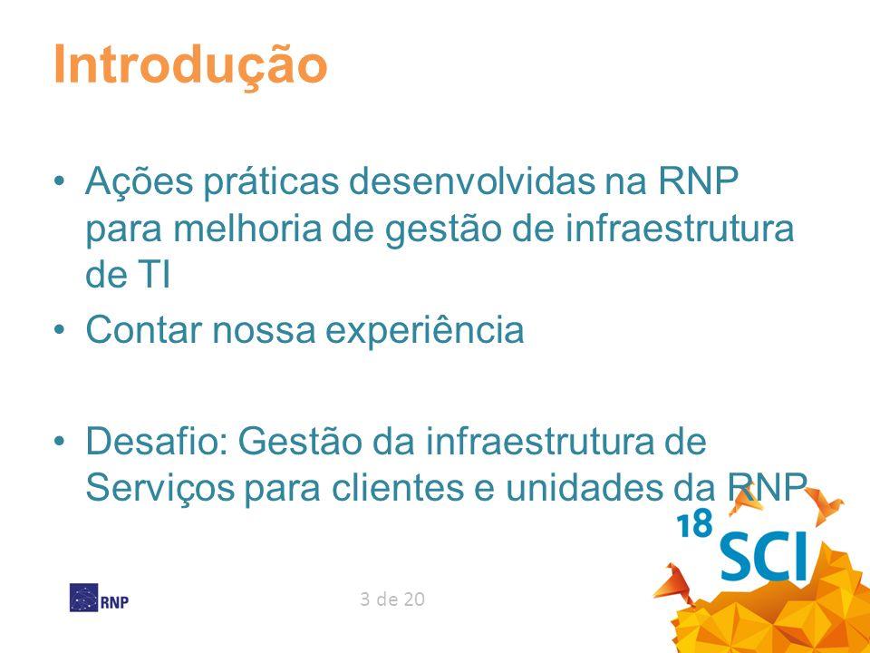 Introdução Ações práticas desenvolvidas na RNP para melhoria de gestão de infraestrutura de TI. Contar nossa experiência.