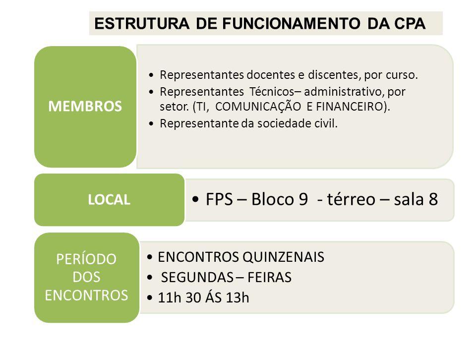 ESTRUTURA DE FUNCIONAMENTO DA CPA ENCONTROS QUINZENAIS