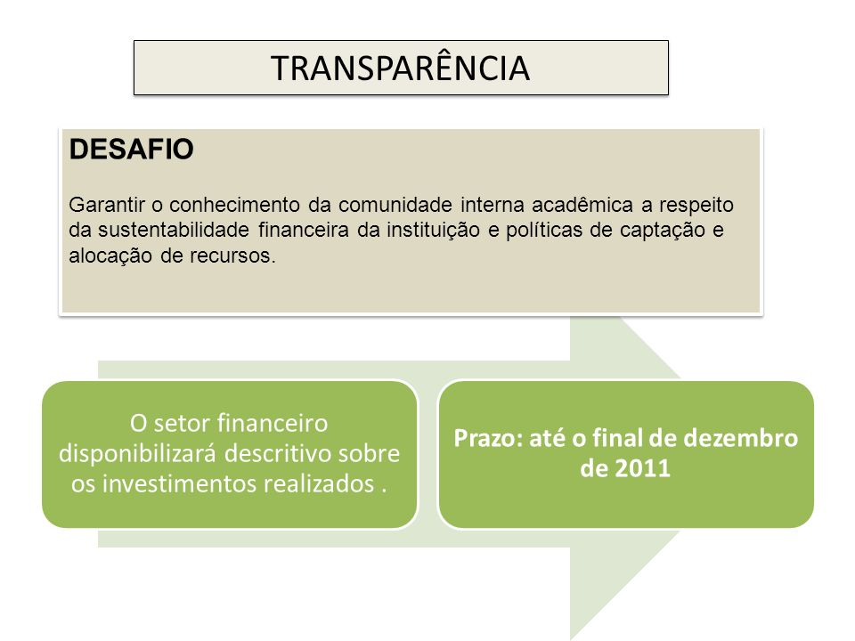 Prazo: até o final de dezembro de 2011