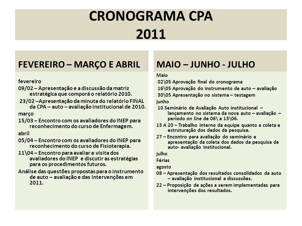 CRONOGRAMA CPA 2011 FEVEREIRO – MARÇO E ABRIL MAIO – JUNHO - JULHO