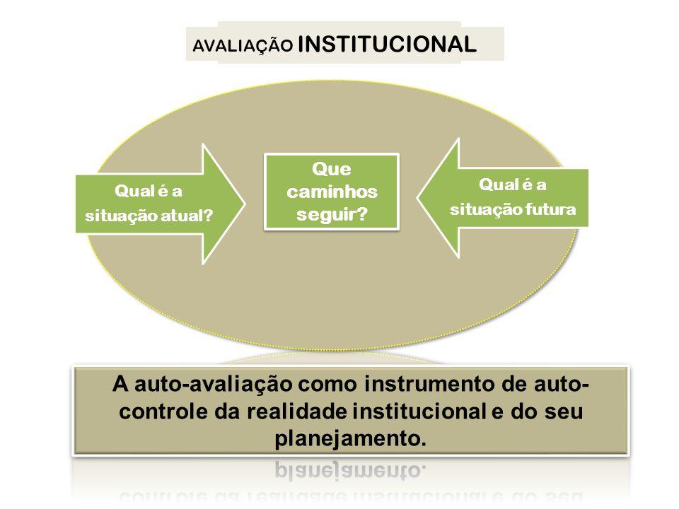 Qual é a situação atual situação futura PDI. AVALIAÇÃO INSTITUCIONAL. Que caminhos. seguir Qual é a.