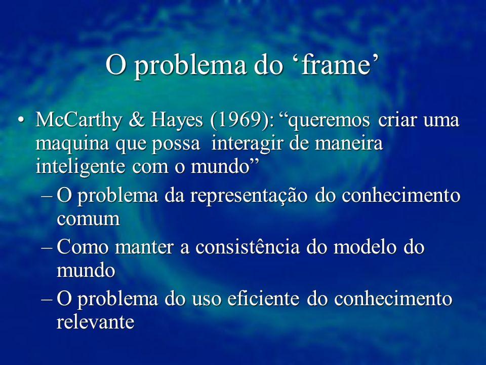 O problema do 'frame' McCarthy & Hayes (1969): queremos criar uma maquina que possa interagir de maneira inteligente com o mundo