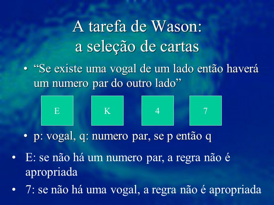 A tarefa de Wason: a seleção de cartas