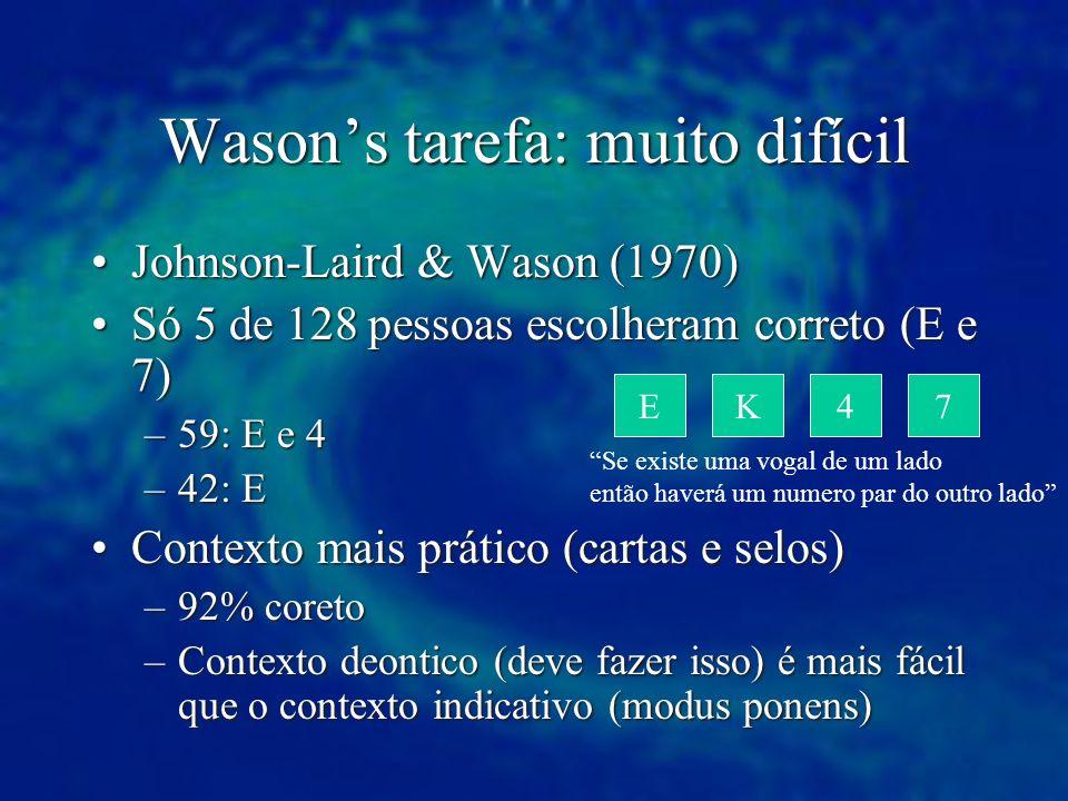 Wason's tarefa: muito difícil