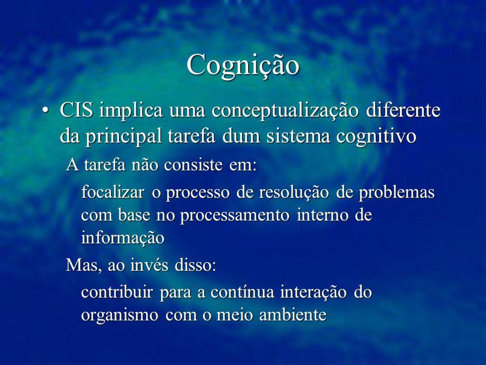Cognição CIS implica uma conceptualização diferente da principal tarefa dum sistema cognitivo. A tarefa não consiste em:
