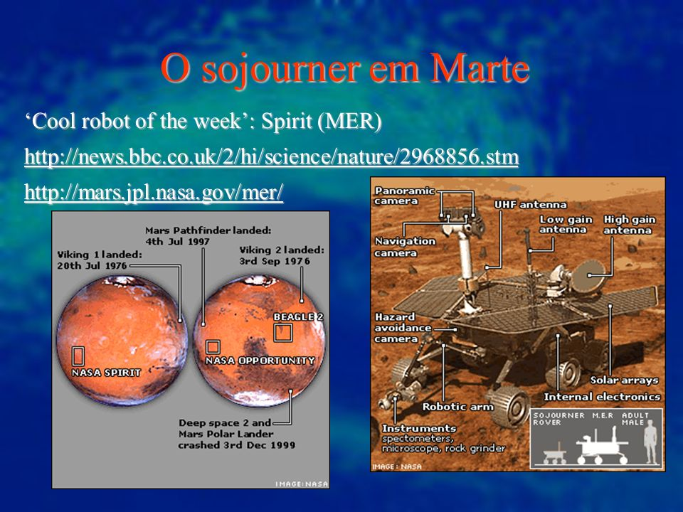 O sojourner em Marte 'Cool robot of the week': Spirit (MER)