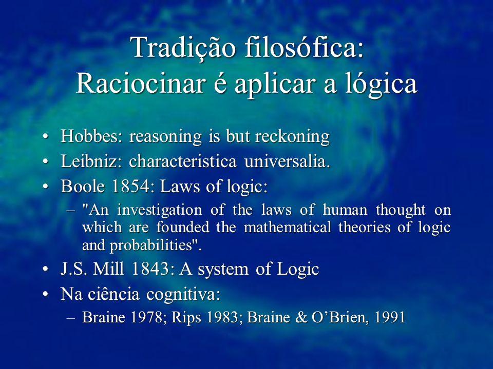 Tradição filosófica: Raciocinar é aplicar a lógica