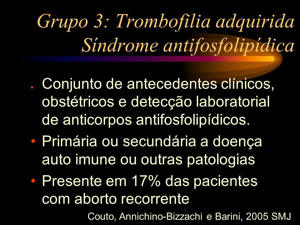 Grupo 3: Trombofilia adquirida Síndrome antifosfolipídica