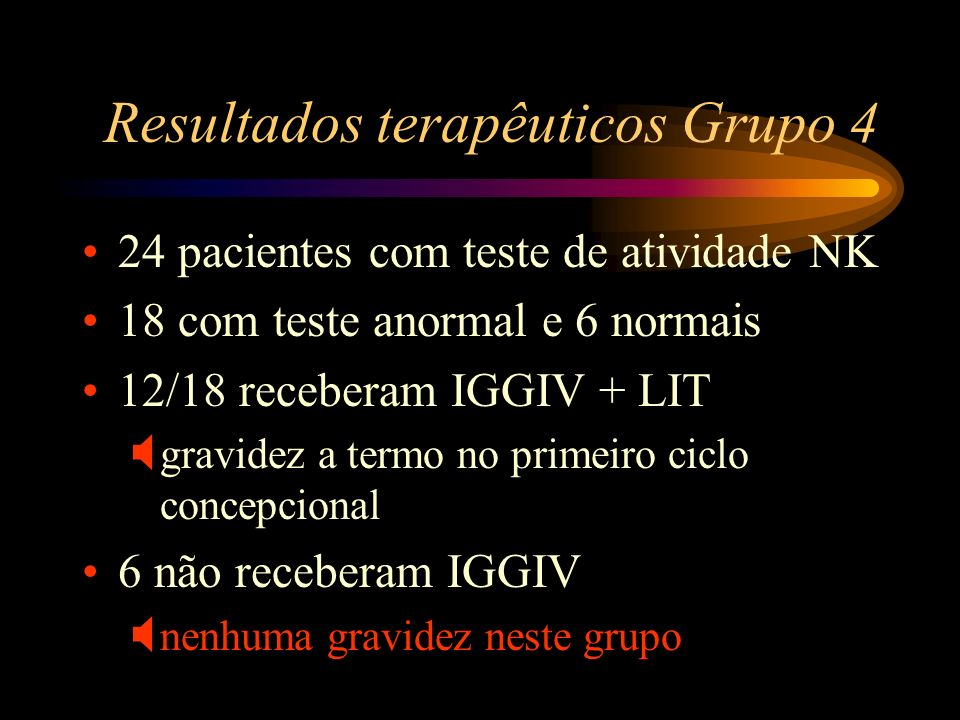 Resultados terapêuticos Grupo 4