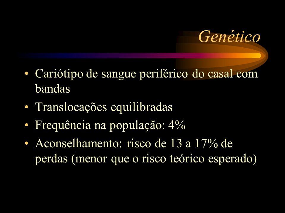 Genético Cariótipo de sangue periférico do casal com bandas