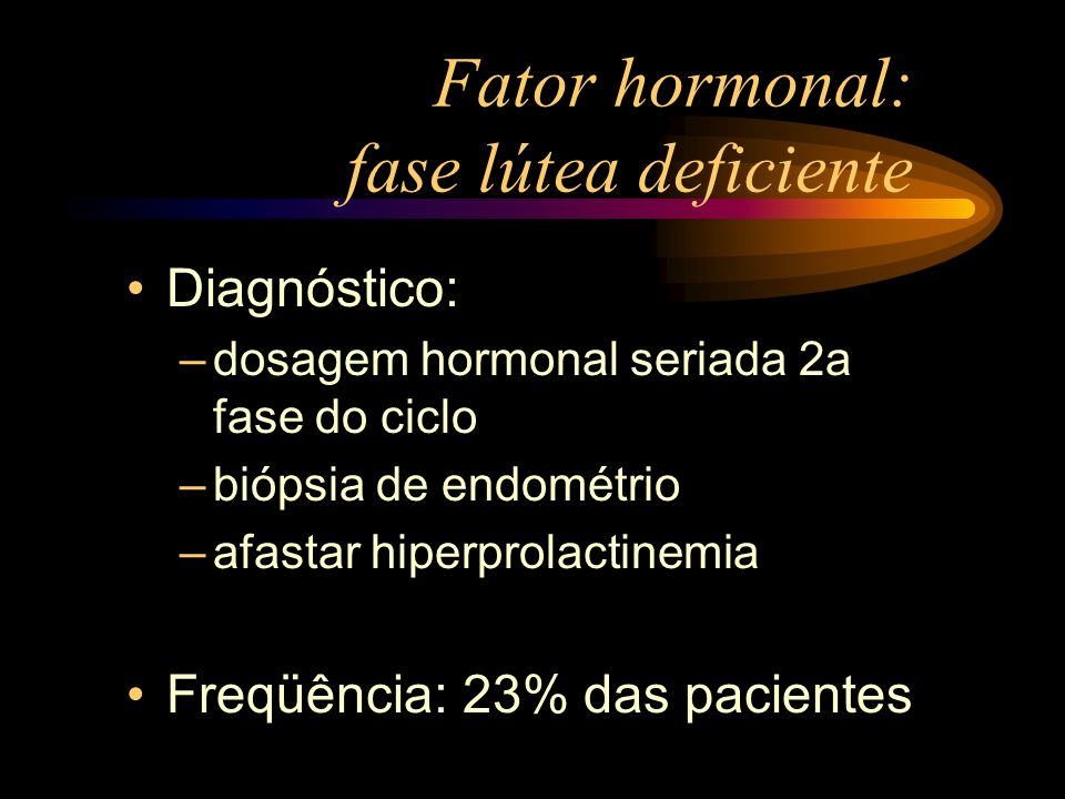 Fator hormonal: fase lútea deficiente