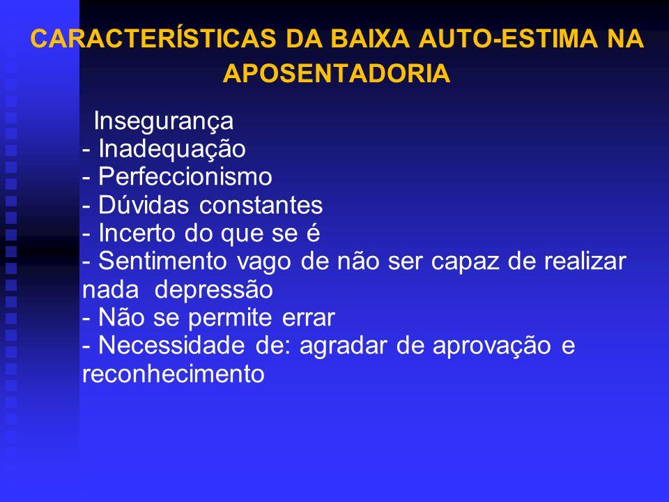 CARACTERÍSTICAS DA BAIXA AUTO-ESTIMA NA APOSENTADORIA