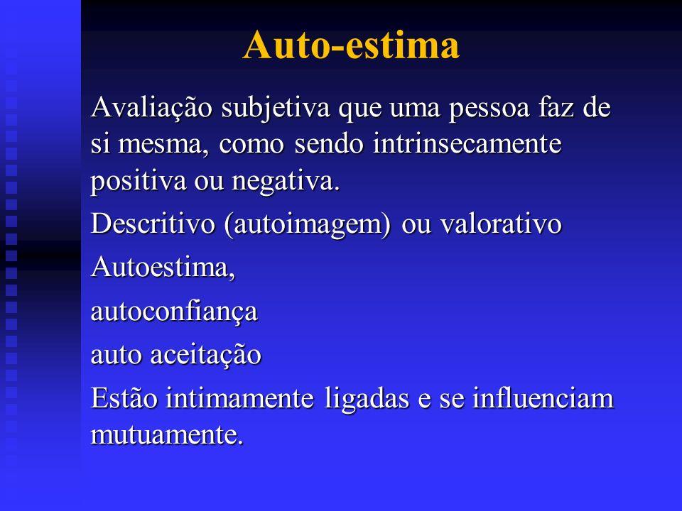Auto-estima Avaliação subjetiva que uma pessoa faz de si mesma, como sendo intrinsecamente positiva ou negativa.
