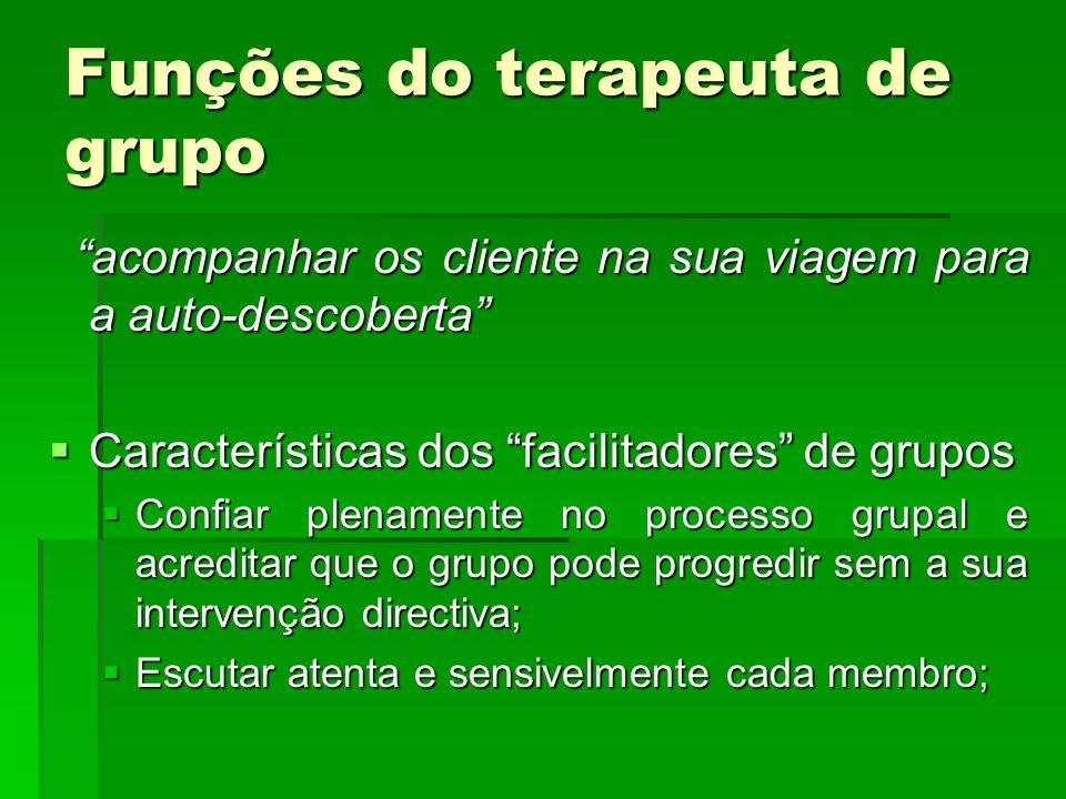 Funções do terapeuta de grupo