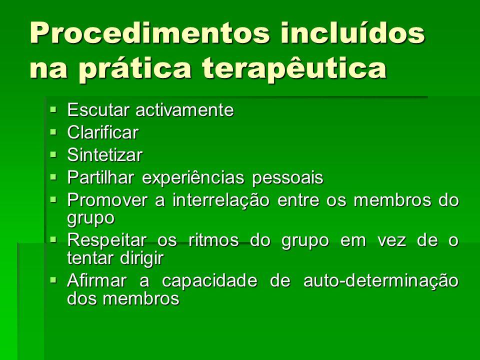 Procedimentos incluídos na prática terapêutica
