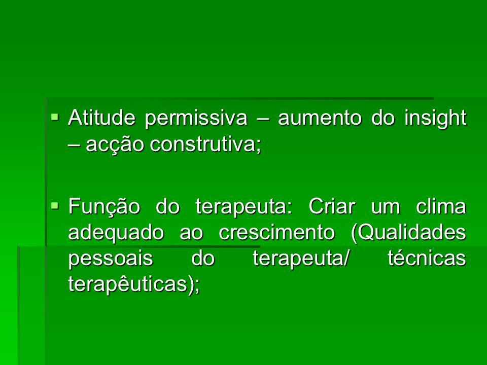 Atitude permissiva – aumento do insight – acção construtiva;