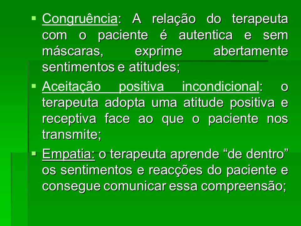 Congruência: A relação do terapeuta com o paciente é autentica e sem máscaras, exprime abertamente sentimentos e atitudes;