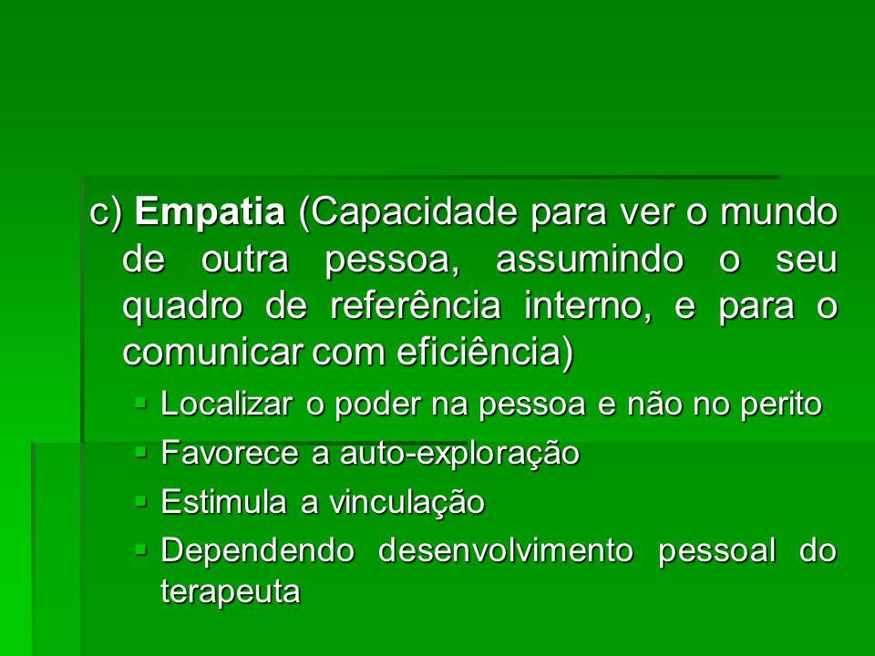 c) Empatia (Capacidade para ver o mundo de outra pessoa, assumindo o seu quadro de referência interno, e para o comunicar com eficiência)