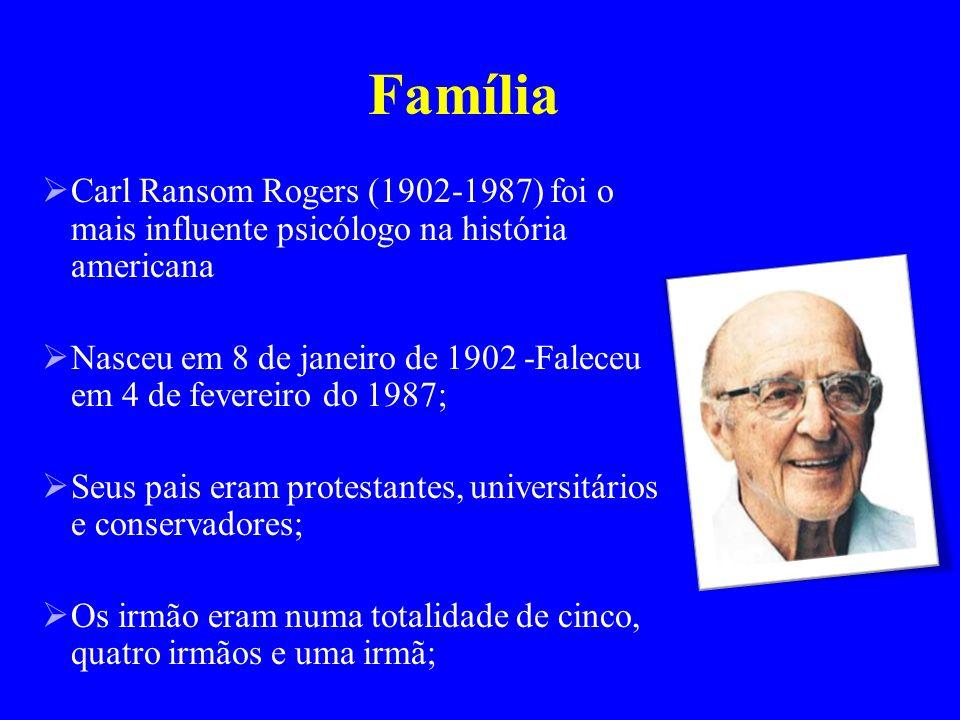 Família Carl Ransom Rogers (1902-1987) foi o mais influente psicólogo na história americana.
