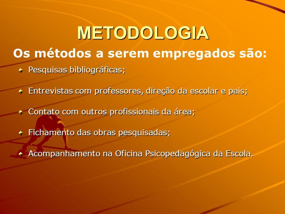 METODOLOGIA Os métodos a serem empregados são: