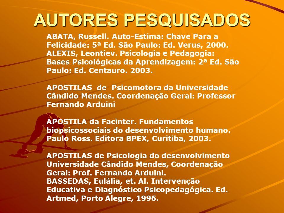 AUTORES PESQUISADOS ABATA, Russell. Auto-Estima: Chave Para a Felicidade: 5ª Ed. São Paulo: Ed. Verus, 2000.